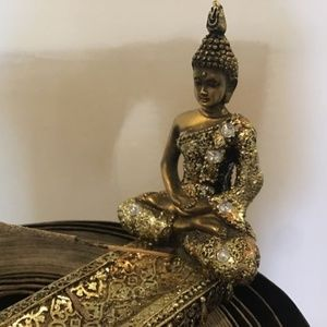 GILDED BUDDHA INCENSE HOLDER WITH RHINESTONES